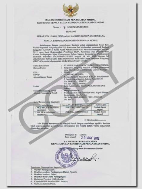 surat izin usaha penjualan langsung